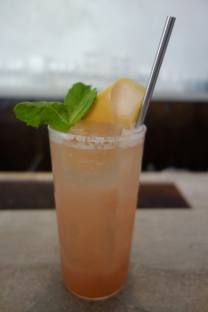 Fruit Cup (London gin, lemon, chinato, ginger, soda) at Trou Normand | Foodable WebTV Network