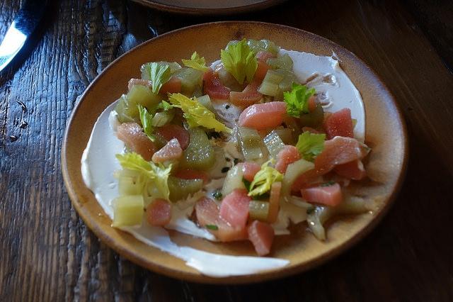 Cardoons and Rhubarb, Caramelized Honey Dressing, Douglas Fir Yogurt, Nepitelia at Verbena  | Foodable WebTV Network