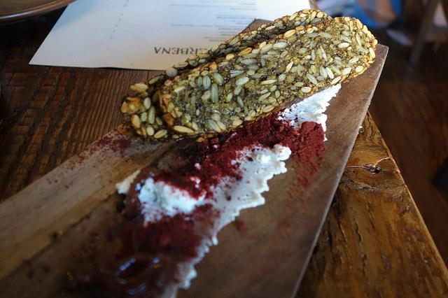 Sprouted Seed Bread, Chevre, Beet Sauerkraut at Verbena | Foodable WebTV Network