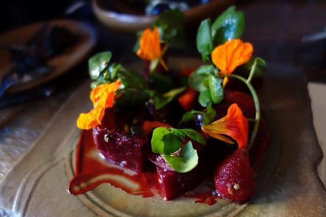 Beets and Strawberries, Black Walnut-Beet Miso, Ginger, Cress, Oxalies at Verbena | Foodable WebTV Network