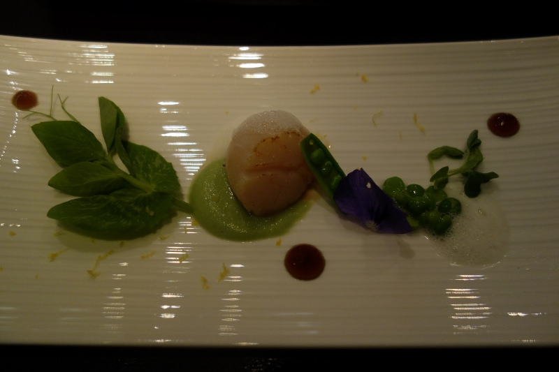 Fresh Japanese Scallop with English peas, yuzu  juice foam, and ponzu at n/naka | FOODABLE WEBTV NETWORK