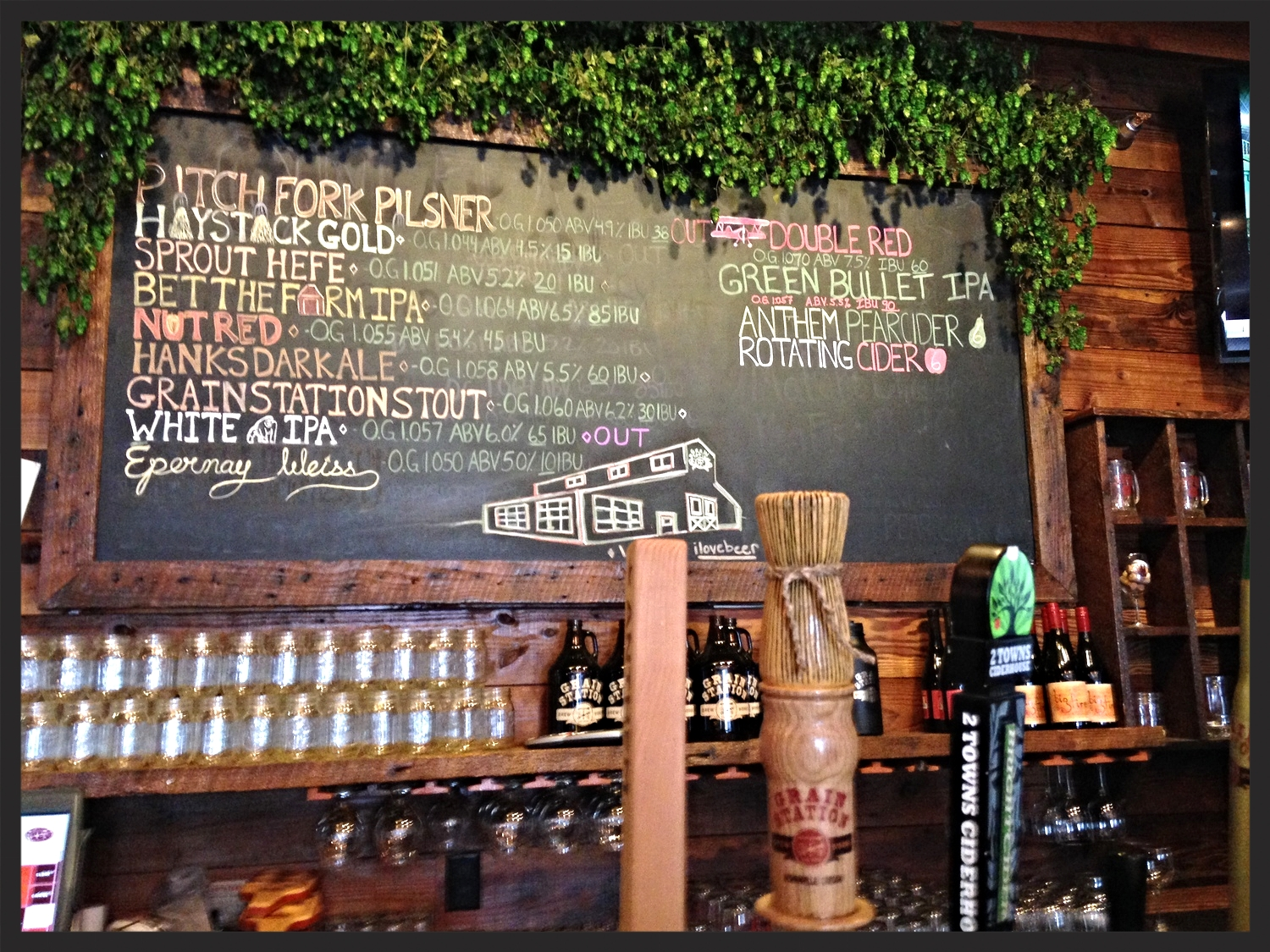Beers on tap menu at Grain Station  | FOODABLE NETWORK