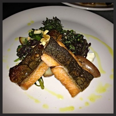 Pan seared crispy skin trout with wild broccoli and pan potatoes  | YELP, Mike E.