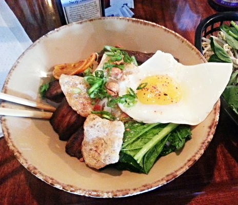 Crispy pork belly vermicelli noodle with egg at Mopho  | YELP, John C.