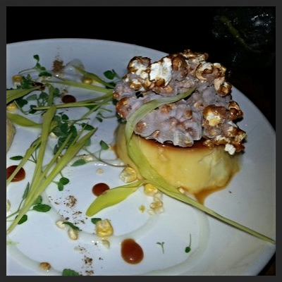 "Sweet Corn Flan with ""Cracker Jacks"" from Root  