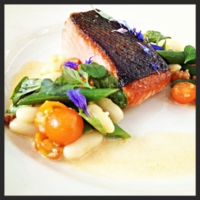 Salmon with tomato, shelling beans, green beans & basil at Bar Agricole  | YELP, Tomomi K.