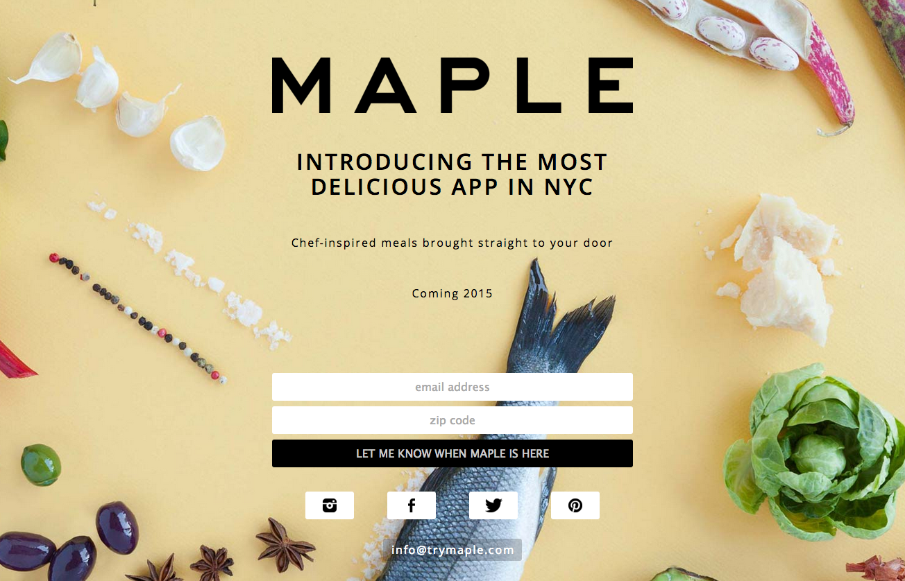 Screenshot of the upcoming app, Maple's website
