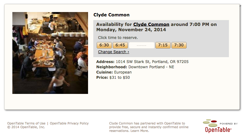 Screenshot of Clyde Common RESERVATIONS  | OPENTABLE