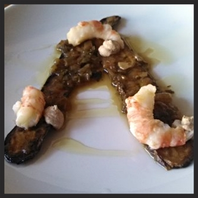 Zucchini in carpione w salt grilled spot prawn and braised pine nut sauce at Cascina Spinasse | YELP, Capt K.