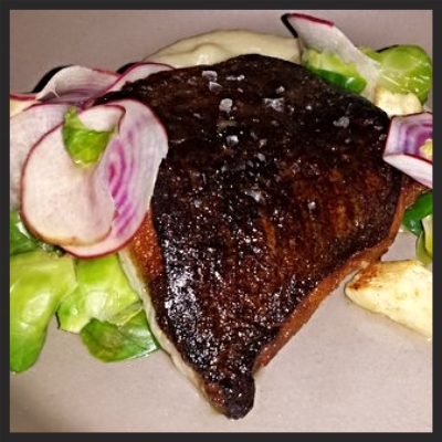 Seared cod with parsnip, brussels sprout, beet & brown butter vinaigretteat flour + water  | YELP, Elena N.