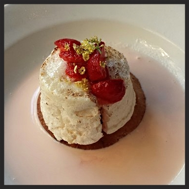 "Strawberry ""Floating Island"" at Little Bird Bistro  
