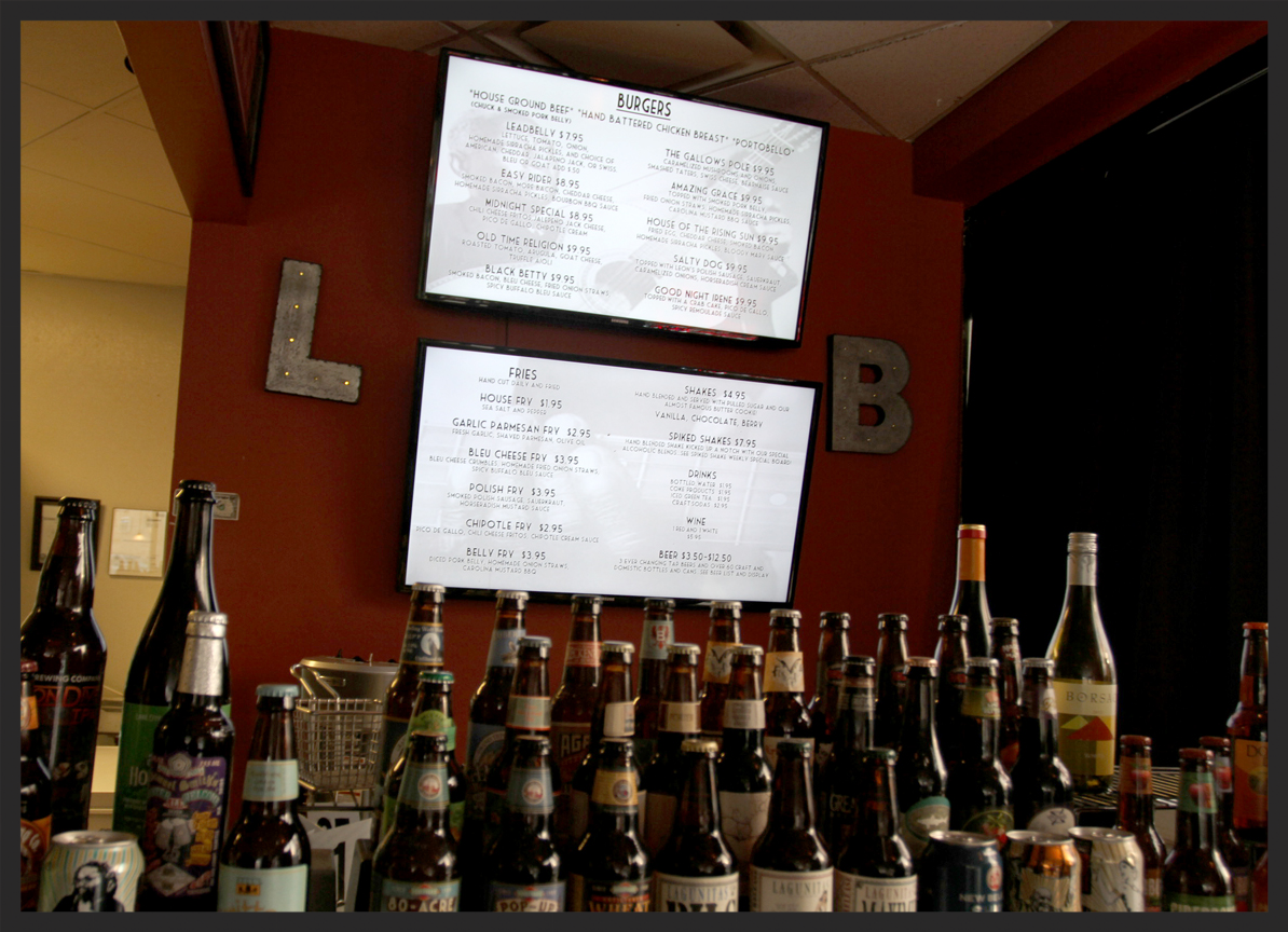 Menu and beer selection at Leadbelly   Foodable Network
