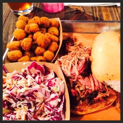 Pulled pork sandwich, cole slaw, & okra from Pecan Lodge | Yelp, Jenny F.