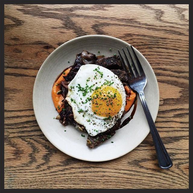 Butcher's steak with egg, squash-romesco, radicchio and saba | Instagram, Avec Chicago