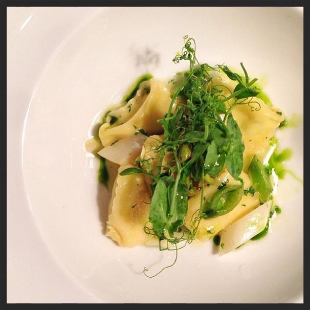 Smoked Boursin Agnolotti, White Asparagus, Sugar Snap Peas, Fiddlehead Ferns | Instagram, Marc Forgione