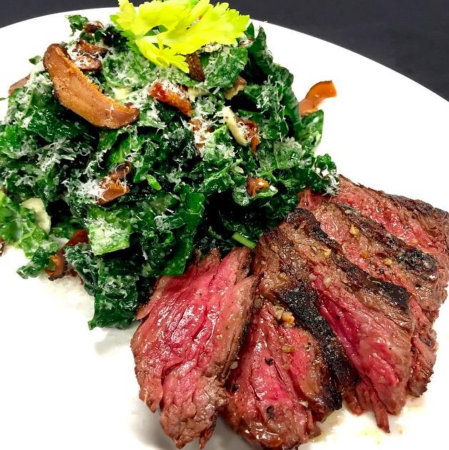 Kale salad with prime ribeye cap  | Credit: Instagram, @rpmsteakchi