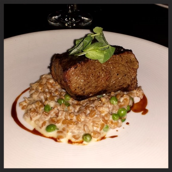 "Certified Angus Rib Eye With English Pea ""Risotto"" at Bourbon Steak  