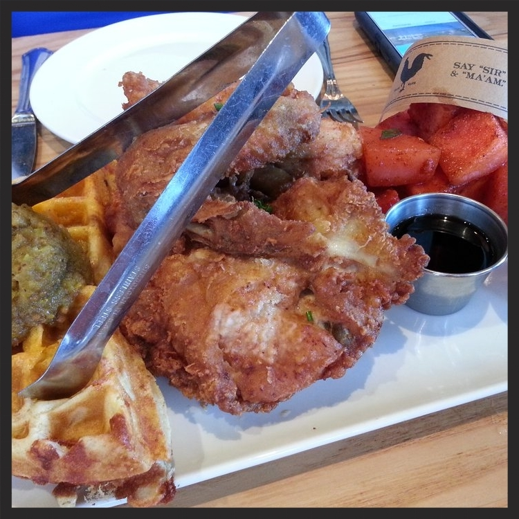 Fried Chicken, waffle, and watermelon at Yardbird  | Yelp, Momo B.