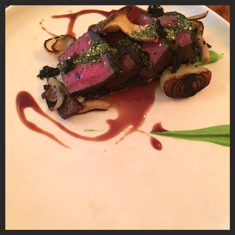 Truffle crusted wagyu beef, braised cheek, broccoli, black barley, garlic chips at Laurel  | Yelp, Sari A.