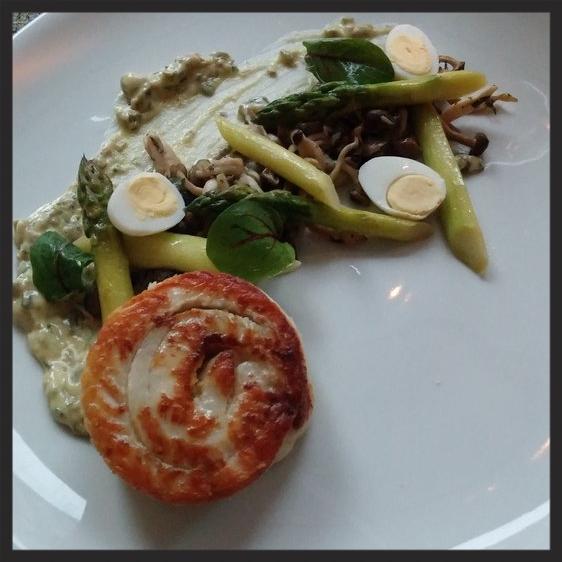Flounder with quail eggs, asparagus, and mushrooms at Liquid Art House  | Credit: Yelp, Kailey O.