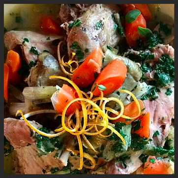 Braised 1/2 rabbit & artichokes with carrot, spring onion, brown rice, fresh herbs and orange zest at Dai Due  | Credit: Instagram