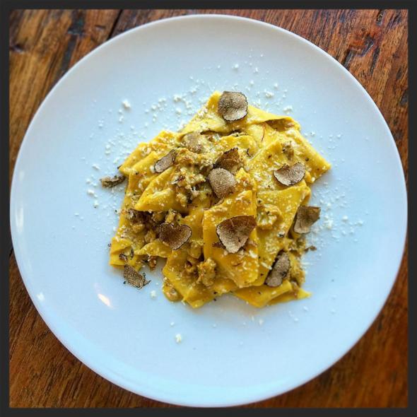 Taccozzelle, housemade sausage, porcini, Navelli saffron, black truffle at Le Virtù  | Instagram, @joe_cicala