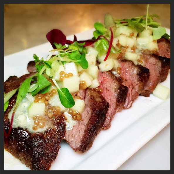 Black & Bleu Sirloin Steak with Maytag bleu cheese & mustard seeds at Wright & Company  | Instagram, @mightyinthemitten