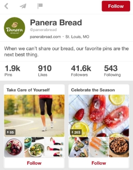 Screenshot of Panera's Pinterest Board  | Panera
