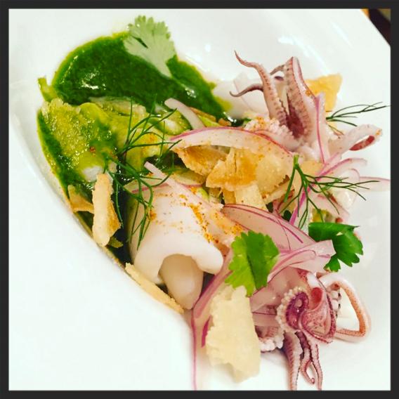 Fluke & squid ceviche at Puritan & Company  | Instagram @detroitmcc