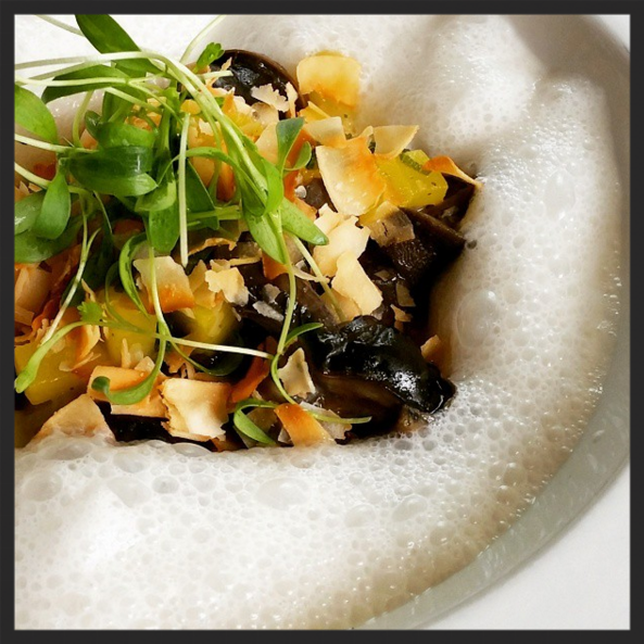 Escargot with mango, pineapple, kaffir lime and coconut broth at Fond    Instagram @fondphilly