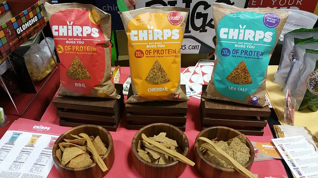 Insect-based products are proving to be a sustainable source of protein. Shown: Chirps chips.    Allison Levine for Foodable Network