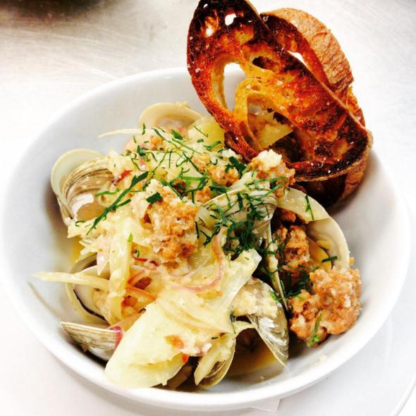 Georgia clams with wild boar sausage  |  Instagram @angeline_nola