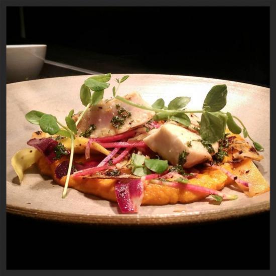 Grilled kajiki marlin with carrot puree, veggies, and Meyer lemon at Selden Standard  | Instagram @seldenstandard