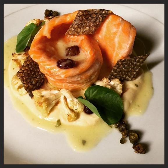 Olive oil poached trout at Antietam  | Instagram @antietamdetroit