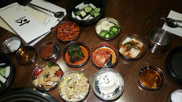 Banchan (side dishes) at Hanjip, a new Korean BBQ restaurant in Los Angeles  |Allison Levine for Foodable WebTV Network