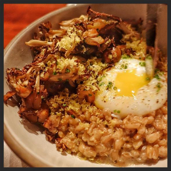 Farro and chicken of woods mushroom at Spoke Wine Bar  | Instagram @tatsuikeda