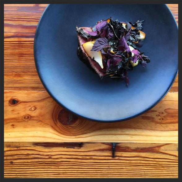 Tri-tip steak, black sesame, sweet onion and black trumpet mushrooms at Parachute  | Instagram @parachutechicago