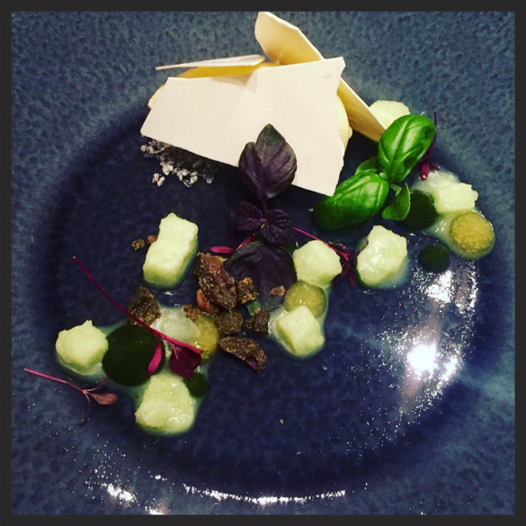 Ganache d'olives vertes & chocolat blanc, basilic givre, and citron vert at Club Gascon  | Credit: Instagram @samthefoodfan