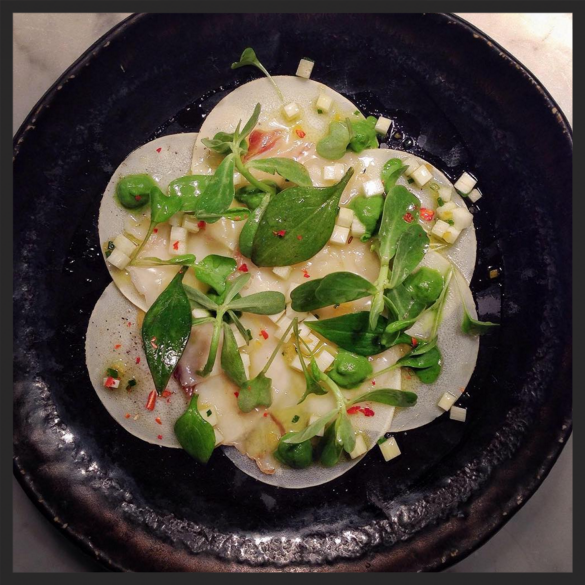 Hearts of palm, dry aged lardo, and preserved Meyer lemon at Restaurant Marc Forgione    Instagram @white.hutch.productions