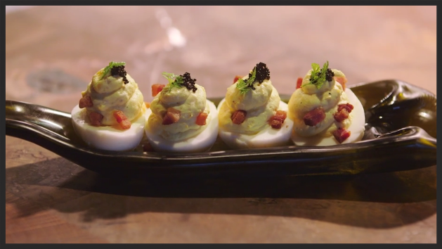 """Devil's"" Eggs with crispy pancetta, caviar"