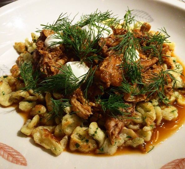 Rabbit Paprikash at Mabel Gray  | Instagram @chefjamesrigato