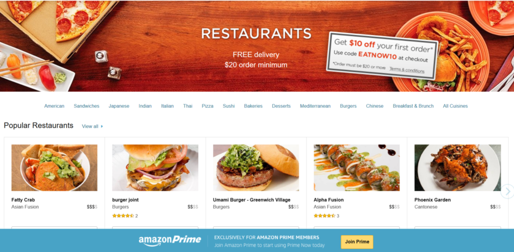 Screenshot of Amazon Prime Now Offering in NYC |  Foodable WebTV Network