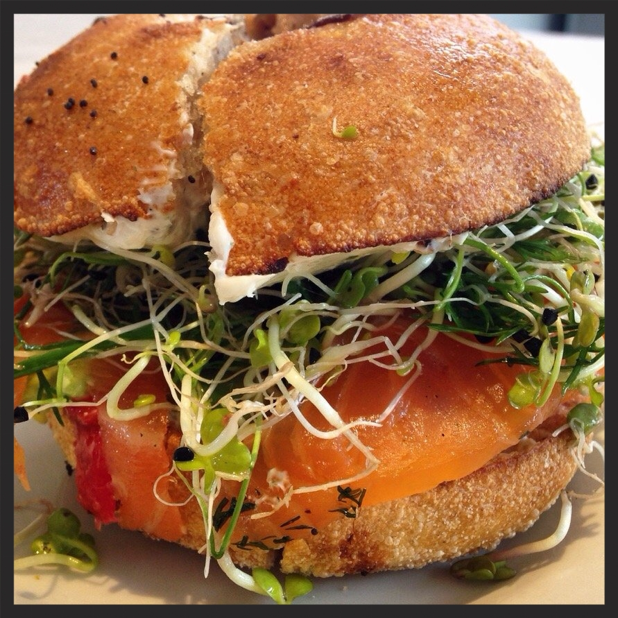 Lox and bayali bagel with Herbed Cream Cheese, Avocado, and Sprouts at Gjusta  | Yelp, Joanna H.