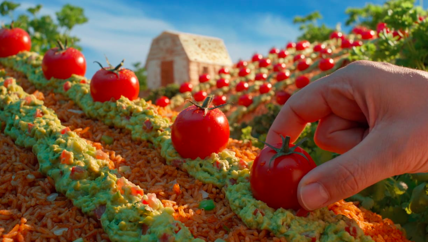 Screenshot from Moe's farming commercial featuring Carl Warner design   Moe's Southwest Grill