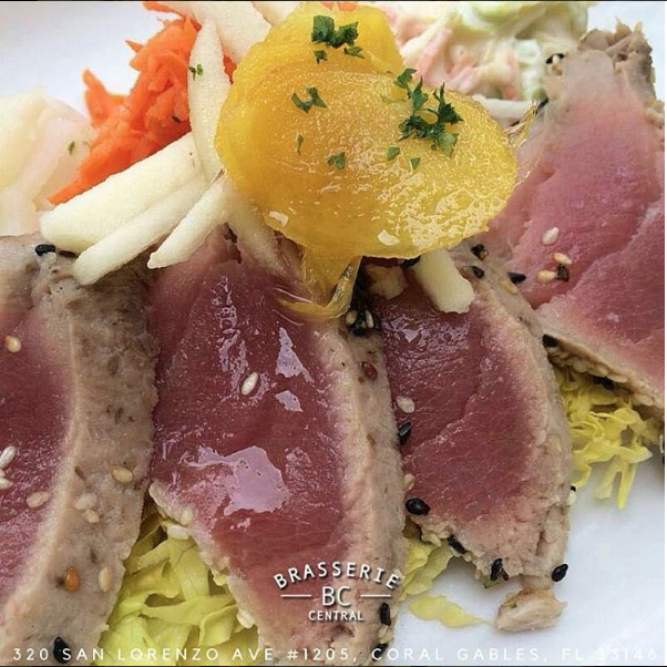Sesame crusted seared tune with crudités in candied ginger dressing    Instagram, @brasseriecentralmiami