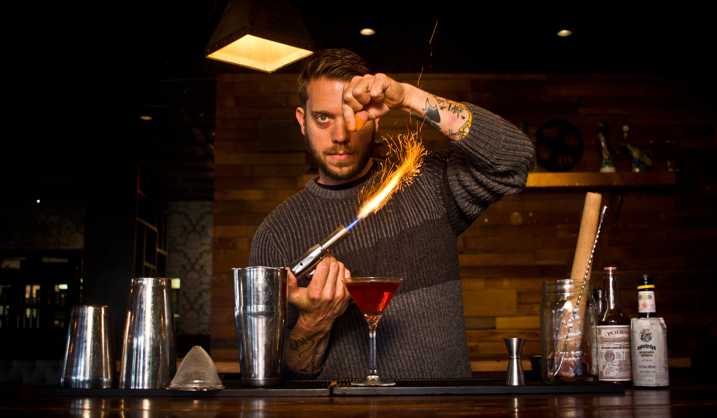 ALEX FLETCHER, HENRY'S MAJECTIC LEAD MIXOLOGIST.  PHOTO COURTESY OF HENRY'S MAJECTIC.