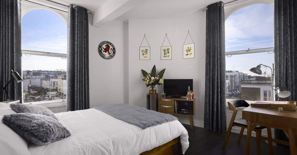 One of the Guest Rooms; Courtesy of Portobello Road Gin/The Distillery