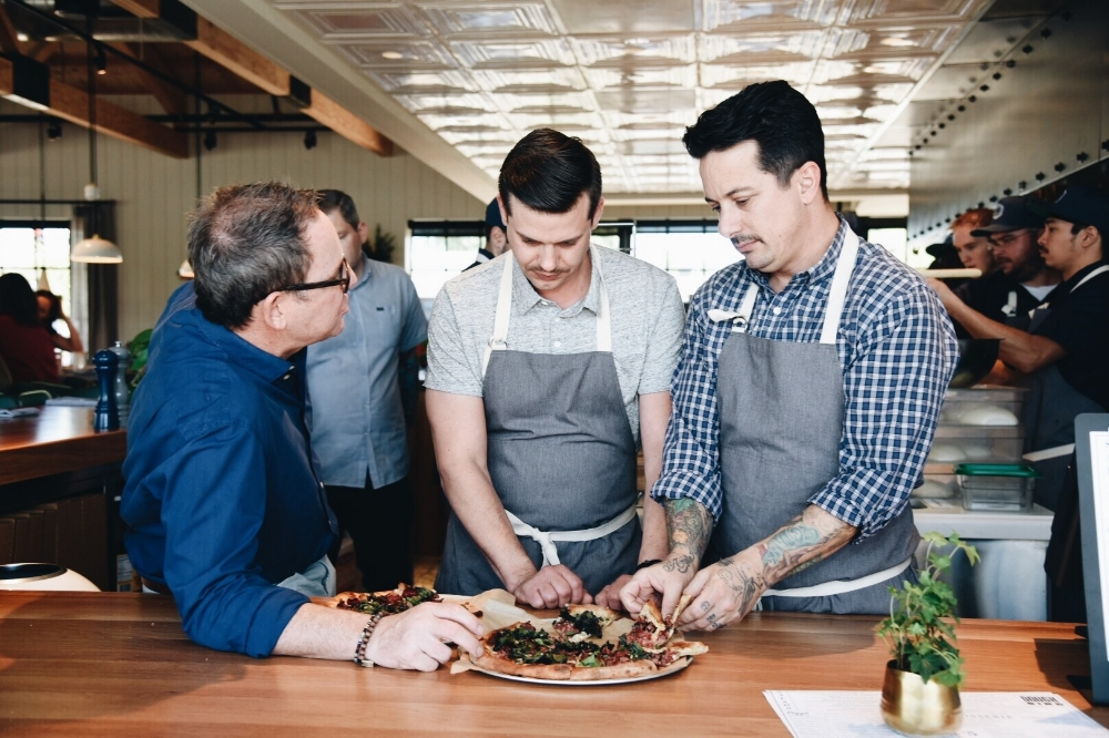 Sam Fox collaborating with chefs      AMAES PHOTOGRAPHY