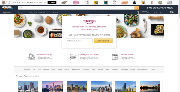 Amazon Restaurants homepage