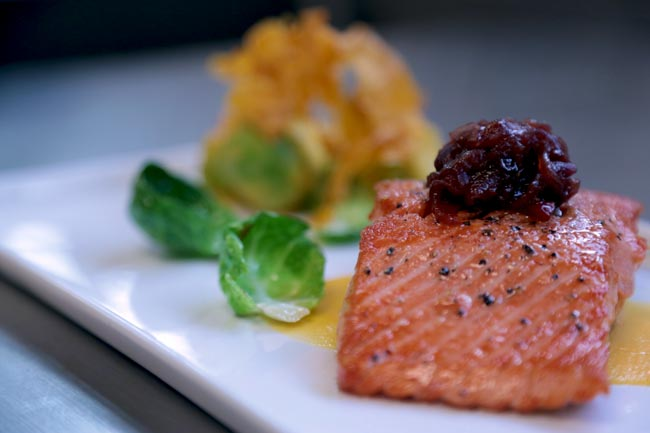 Alaska frozen fresh Sockeye salmon with a butternut squash puree
